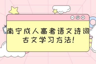 南宁成人高考语文诗词古文学习方法!